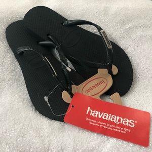NWT Havaianas Flip Flops Black Slim